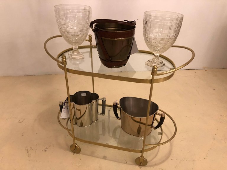Fine Iron Bar Serving or Tea Cart or Trolley with Glass Shelves