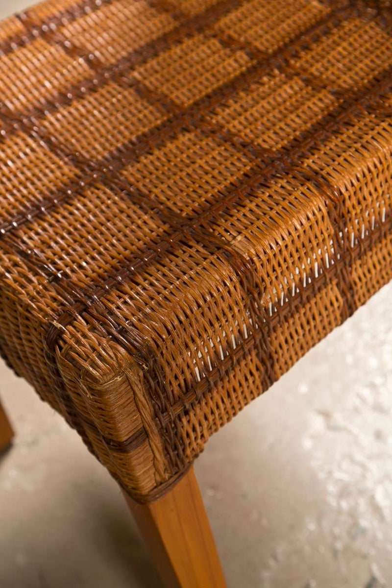 Set of Four Side Wicker Chairs by Palelek Tweed Decorated Seat And Back