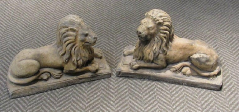 Pair of Cast Stone Garden Lions, Recumbent Lions on Plinth Bases