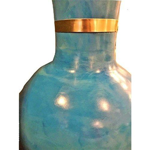 Vintage Turquoise Vase with Upper Gold Trim