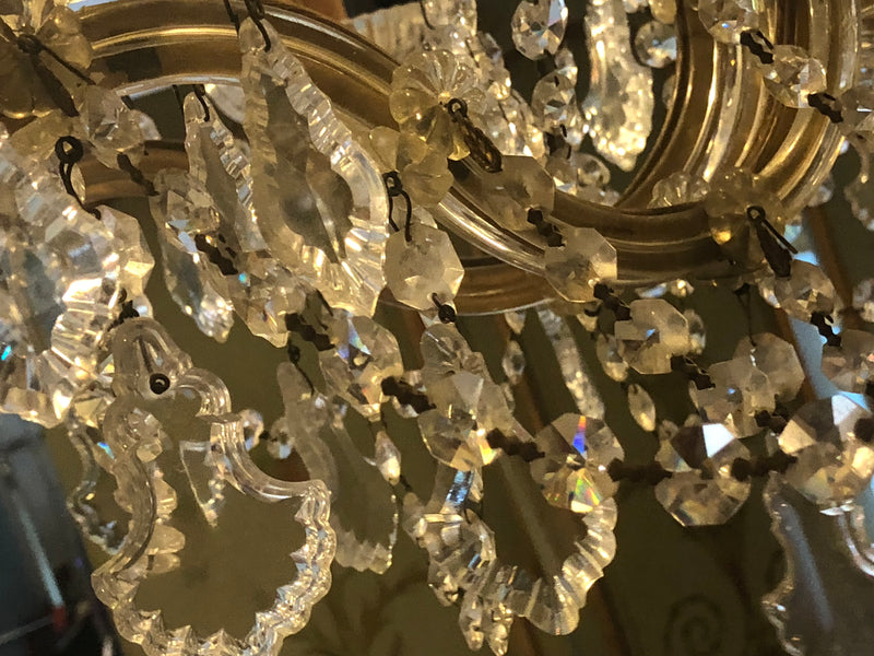 A Crystal  Neo-classical Style Medium Sized Chandelier