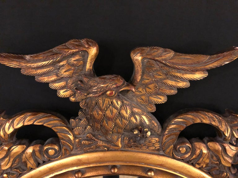 Federal Style Eagle Crested Circular Wall or Console Mirror