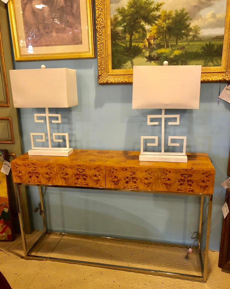 Console Table with Nice Burl Grain Two Drawers on a Chrome Base