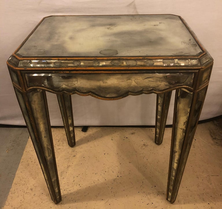 Antiqued Mirrored Hollywood Regency Lamp or End Table
