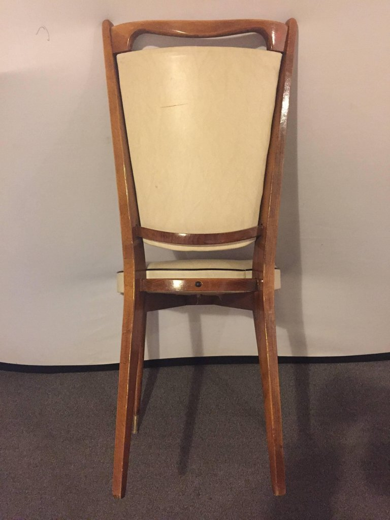 Set of Six Mid-Century Modern Gio Ponti Style Dining Chairs High V-Shaped Backs