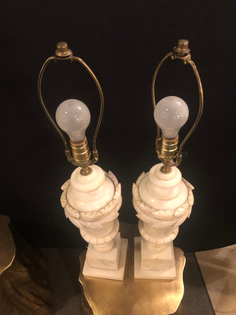 Pair of French Neoclassical Style White Alabaster Urn Shaped Table Lamps