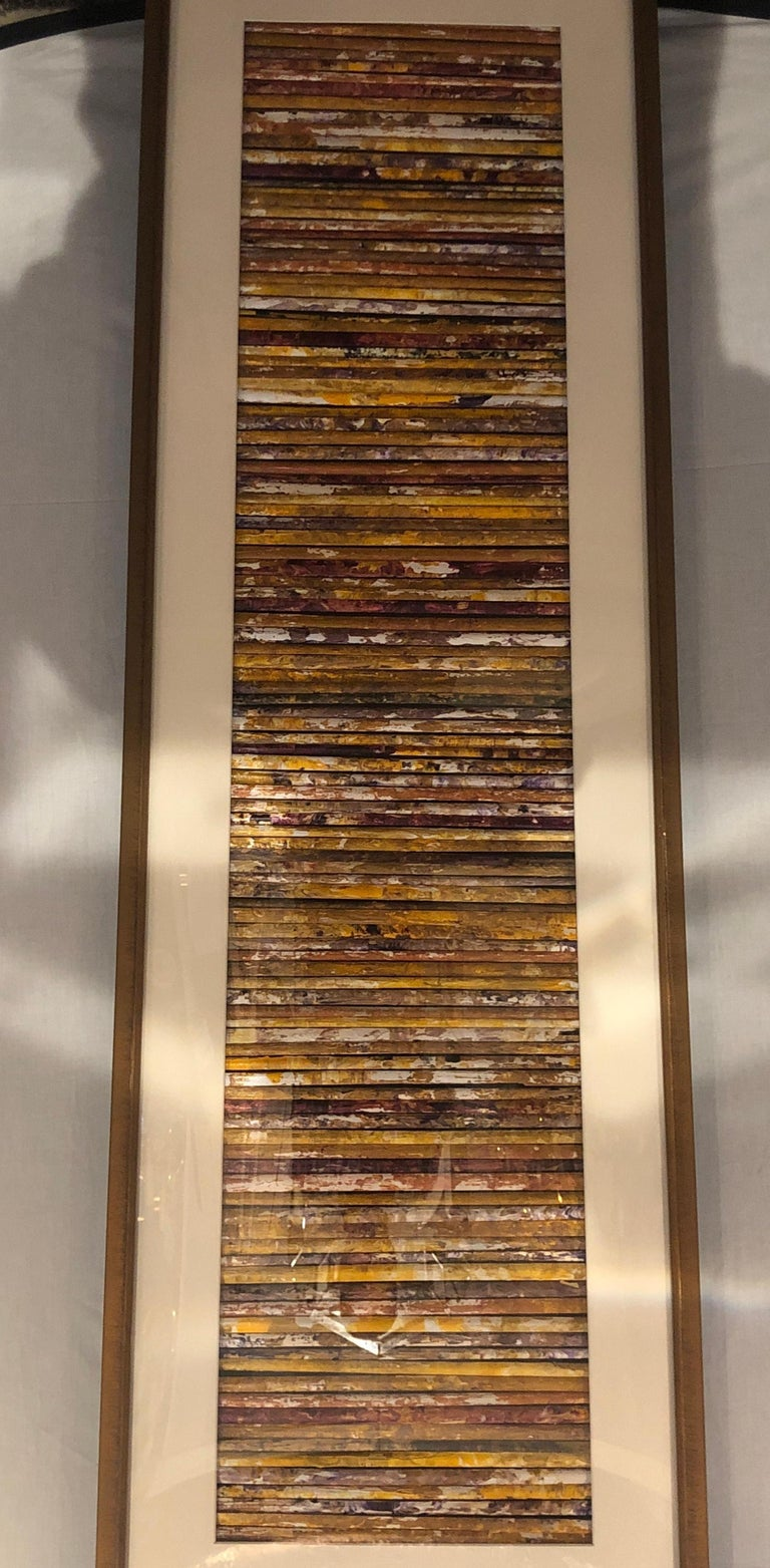 Hand Painted Abstract Art Work with a Custom Frame, Matted