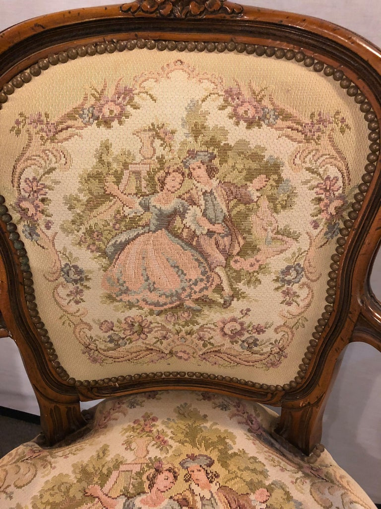 Pair of Louis XV Style Needlepoint Feuteuils or Arm Chairs