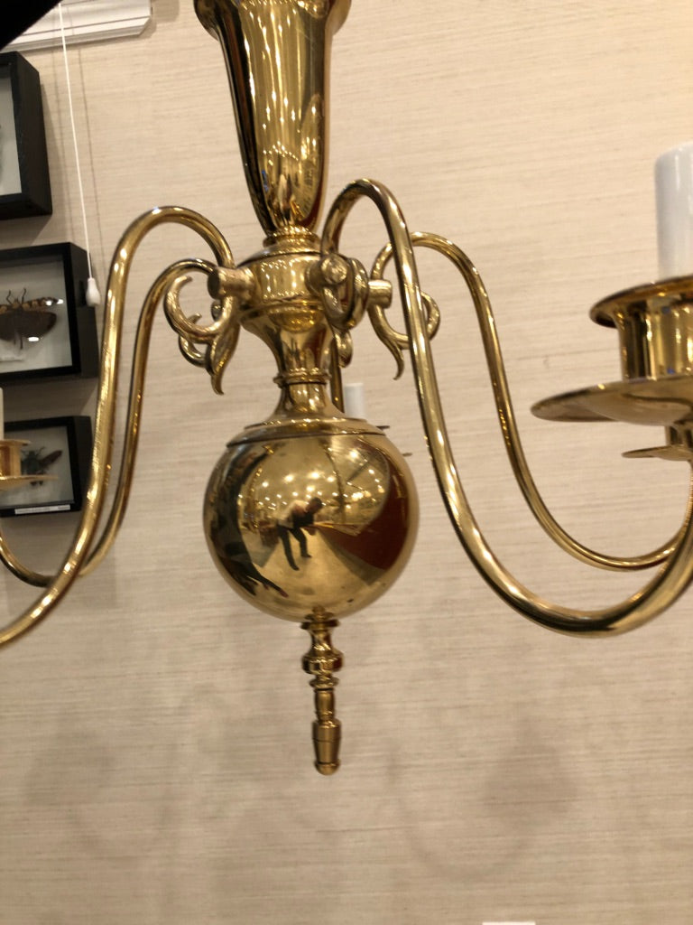 Georgian Style Brass Chandelier with Five Arms