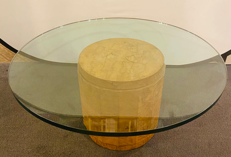 Edward Wormley for Dunbar Glass and Olive Burl Wood Low Table
