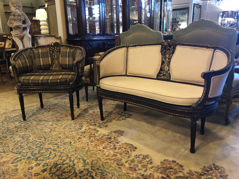 Pair French Neoclassical Style Settees