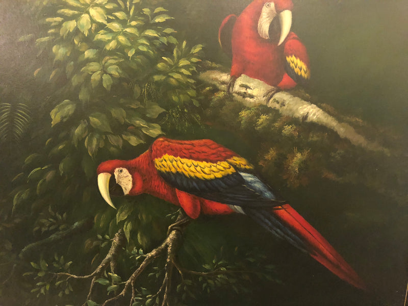 Mama and Papa Cockatoo on a Tree Branch Painting