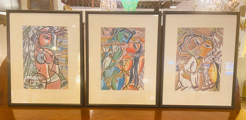 A Group of Three Picasso Style Prints, Framed and Matted
