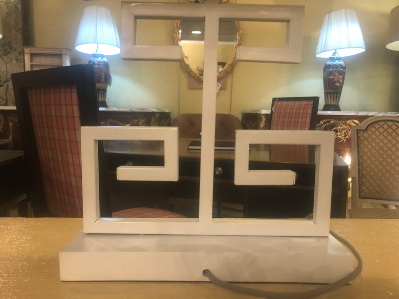 Pair of White Art Deco Style End Table Lamps