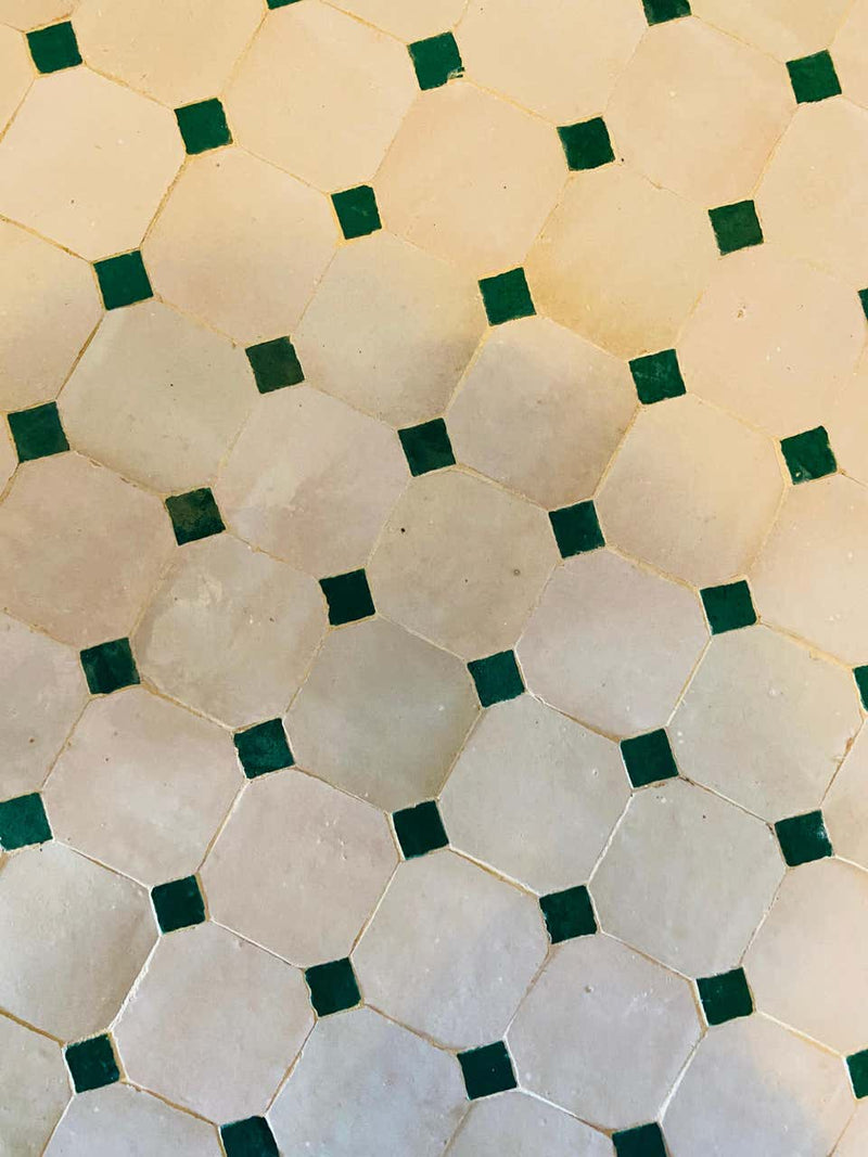 Moroccan Mosaic Bistro or Garden Table in Green and Off-White