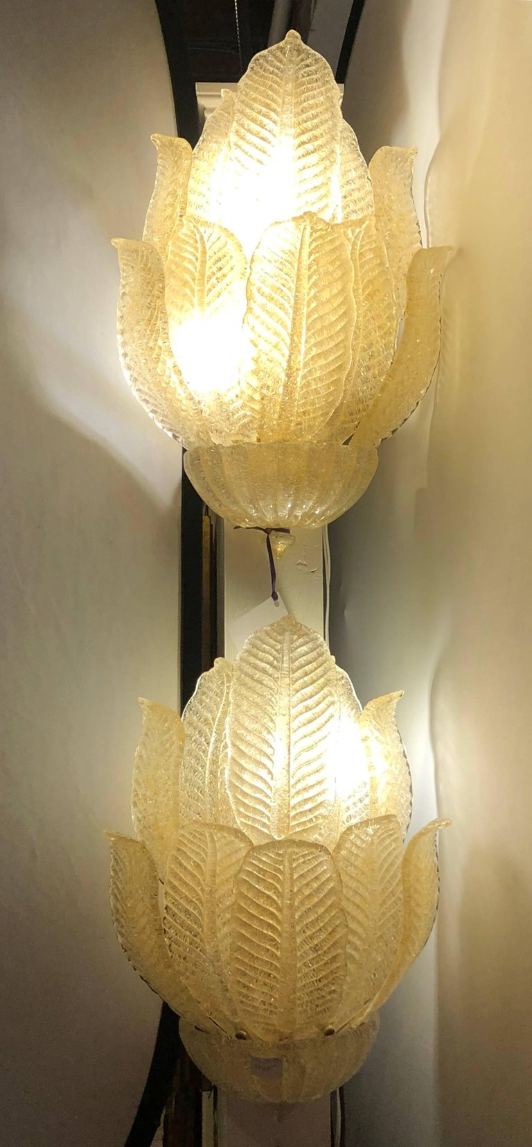 Pair of Mid Century Murano Glass Four Light Leaf Design Four Light Wall Sconces