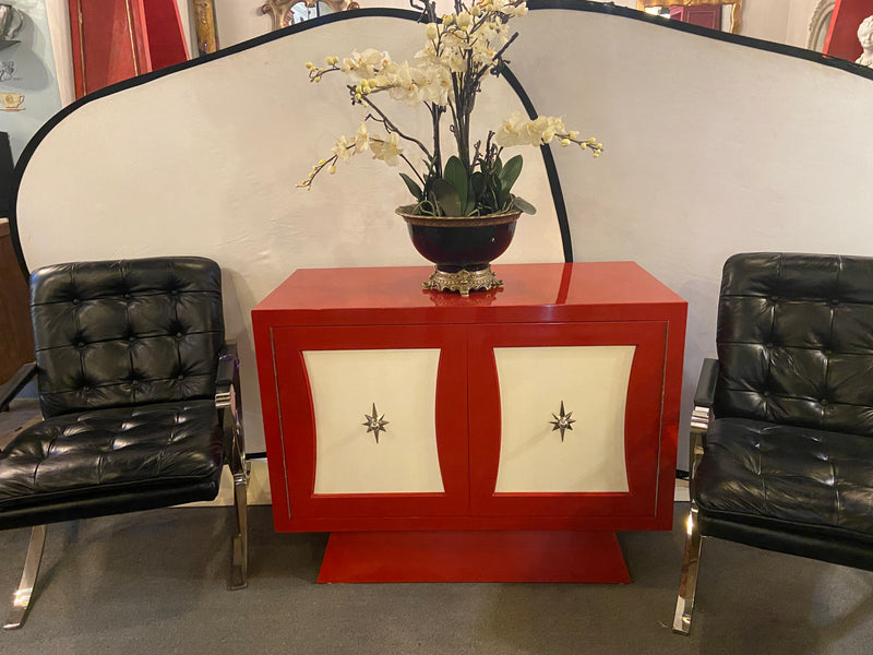 A Parzinger Style Cabinet, Commode or Server Lacquered in Red and White