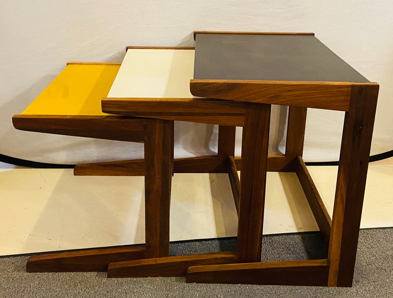 Mid Century Modern Set of Walnut Vinyl Nesting Side Tables By Jens Risom, 1960's
