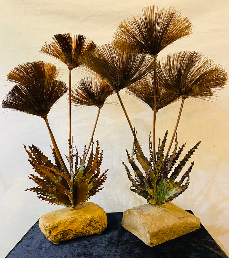 Pair John Steck 1960's Tabletop Sculptures from Steck's Desert Flower Collection