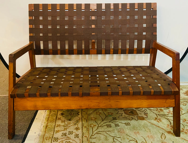 Mid-Century Modern Weaved Strap and Canvas Bench in the manner of Jens Risom