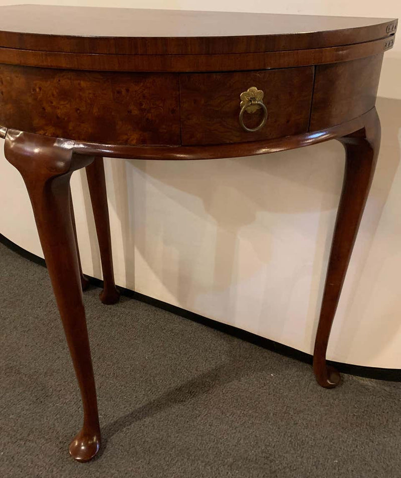 Georgian Style Baker Mahogany Demilune Flip Top End / Card Table