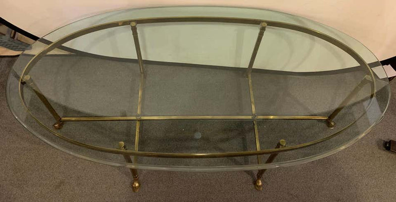 French Hoof Foot Jansen Style Coffee / Low Table Having a Fine Glass Top
