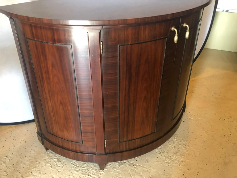Demilune Georgian Style Baker Flame Mahogany Sideboard or Server Ebony Inlays