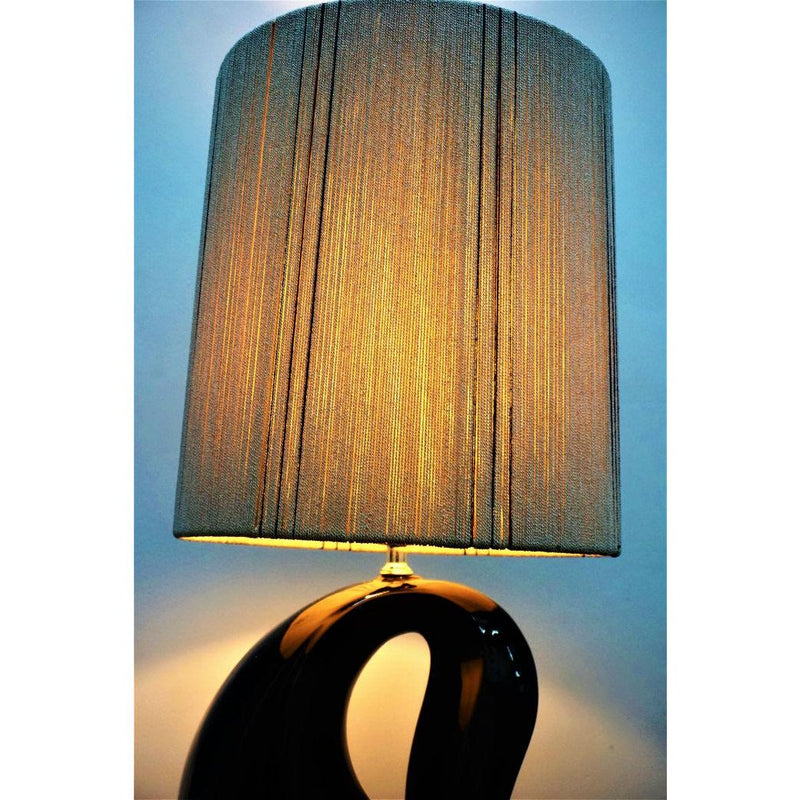 Art Deco Black Open Base Table Lamp & Off-White Lampshade