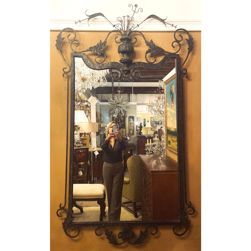 Gilbert Poillerat Neptune Style Wrought Iron Mirror