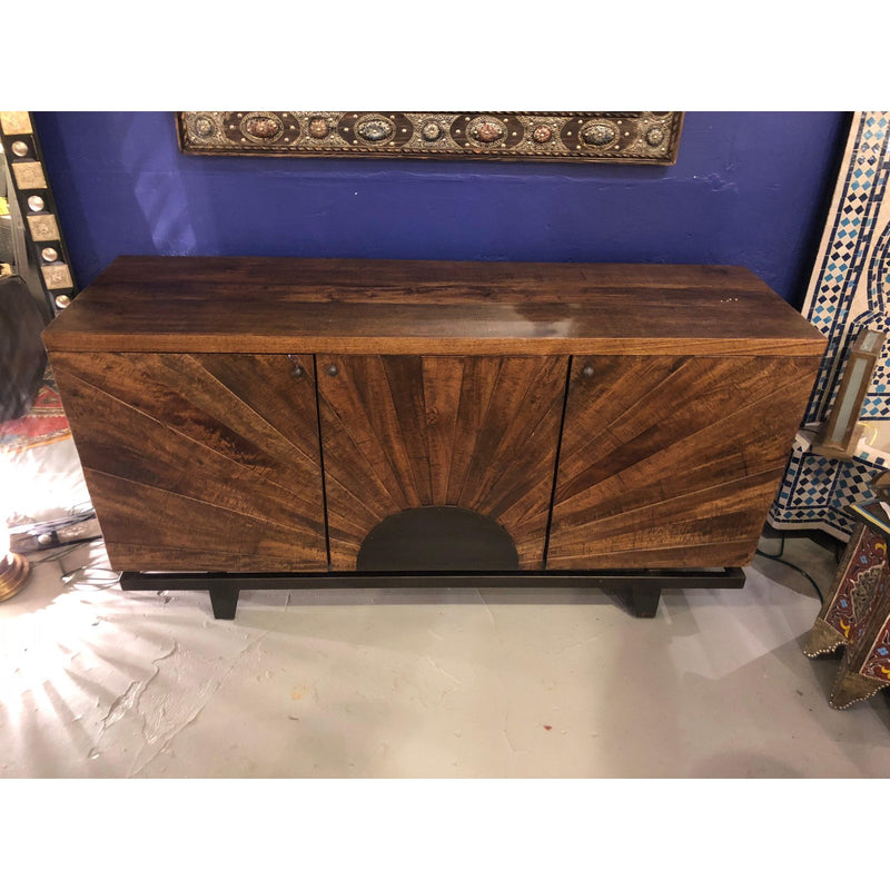 Mid-Century Modern Style Sideboard or Server with Sunburst Design Metal Base