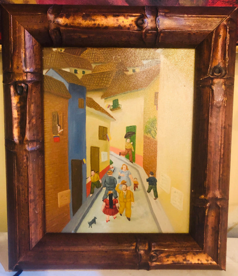 Oil on Canvas Street Scene - Framed