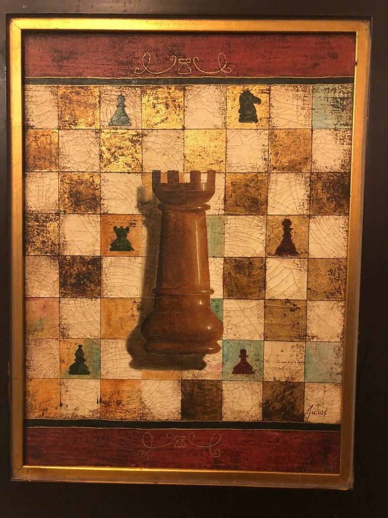 Oil on Canvas Rook/Chess Board Painting - Framed