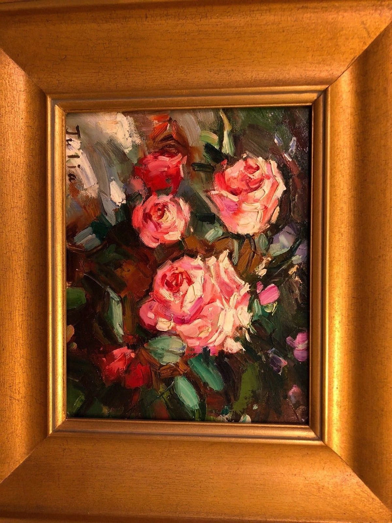 Oil on canvas of Roses - Framed and Signed by Artist