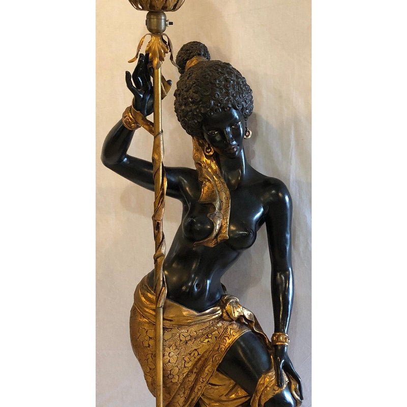 Tall Life Size Nude Nubian Blackamoor Figure Mounted Floor Lamp