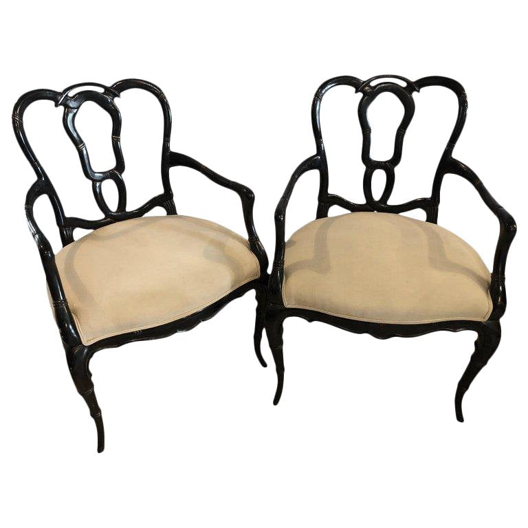 Vintage Mid Century Hollywood Regency Style Lacquer Bamboo Form Armchairs- A Pair