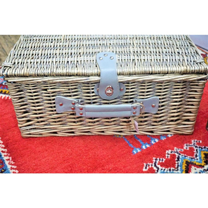 Wicker Picnic Basket With Flatware, Plates & Wine Glasses - Set of 21