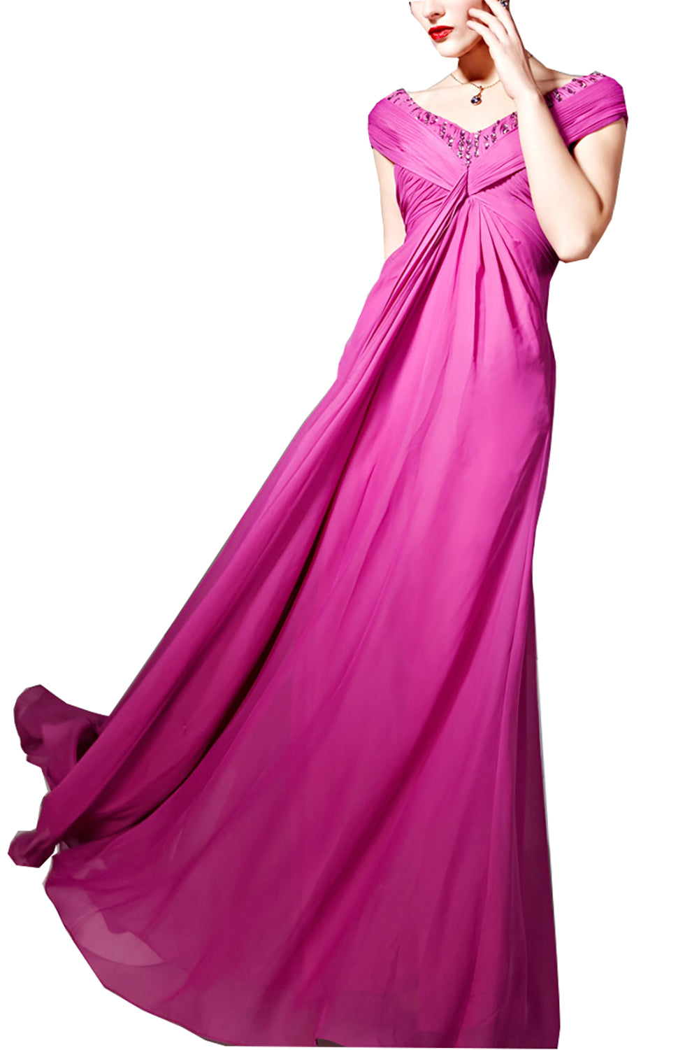 Magenta Ruched Evening Dress with Beaded Bodice (56808)
