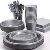 Pans Pro Tableware 48 Serving Party Set, Forks, Spoons, Knives, Plates, Bowls, Cups, Napkins, Tablecovers silver