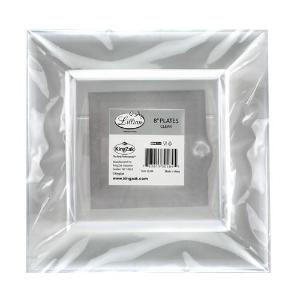 "Squares - Clear 8"" Square Plastic Dinner Plates (Case Qty: 120)"