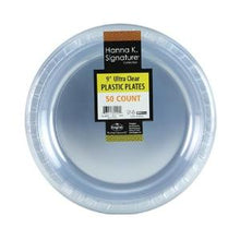 "9"" Plastic Plate - Clear - 50 Count (Case Qty: 600)"