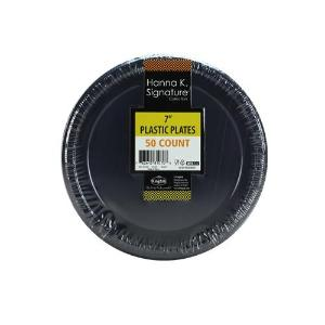 "7"" Black Plastic Plate 50 Count (Case Qty: 600)"