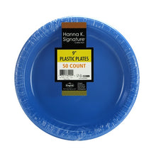 "9"" Plastic Plate - Blue - 50 Count (Case Qty: 600)"