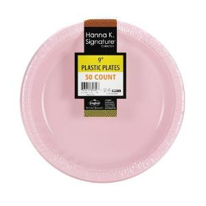 "9"" Pink Plastic Plate - 50 Count (Case Qty: 600)"