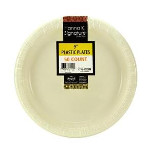 "9"" Plastic Plate - Ivory - 50 Count (Case Qty: 600)"