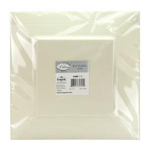 "Squares - Cream 9.5"" Square Plastic Dinner Plates (Case Qty: 120)"