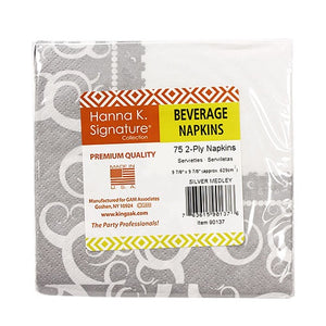 Silver Medley Beverage Napkin 75 Count (Qty: 2700)