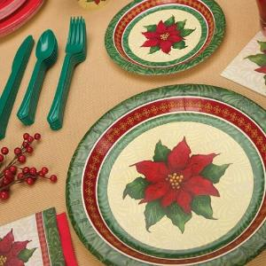 "7"" Christmas Poinsettia Paper Plate 16 Count (Case Qty: 1152)"