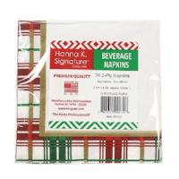 Christmas Plaid Beverage Napkin 75 Count (Qty: 2700)