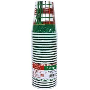 9oz Christmas Plaid Paper Hot/Cold Cup 24 Count (Case Qty: 864)