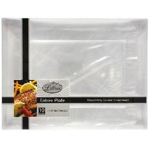 "Clear 11.75"" Rectangular Plastic Entree Plates (Case Qty: 120)"